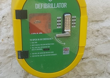 Defibrillator fitted to the Hildyard Arms