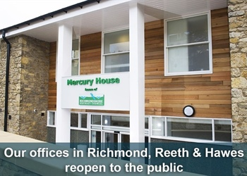 RICHMONDSHIRE DISTRICT COUNCIL COMMUNITY OFFICES RE OPEN IN REETH, RICHMOND & HAWES.  COLBURN OFFICE REMAINS CLOSED FOR THE MOMENT DUE TO THE LIBRARY REFURBISHMENT